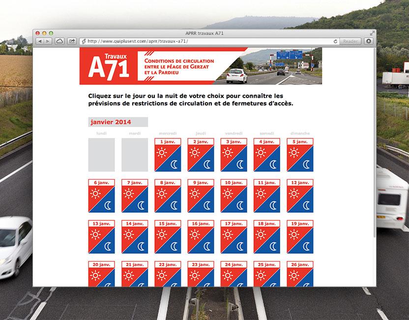 Page internet dédiée aux conditions de circulation sur A71 avec cartographies spécifiques par jour