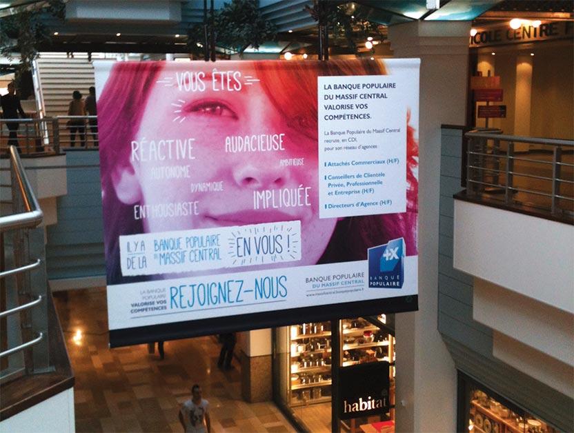 Affichage événementiel en centre commercial
