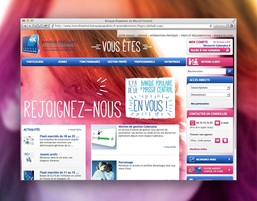 Habillage du site www.massifcentral.banquepopulaire.fr